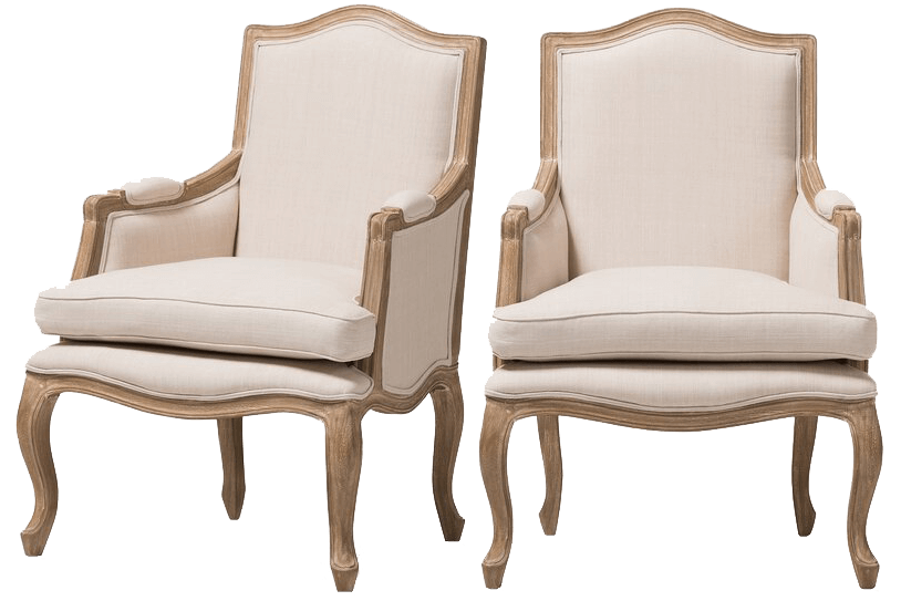 French Ivory Linen Armchairs