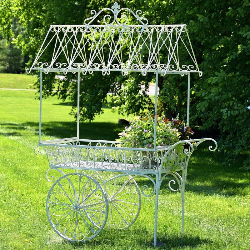 Vintage White Flower Cart