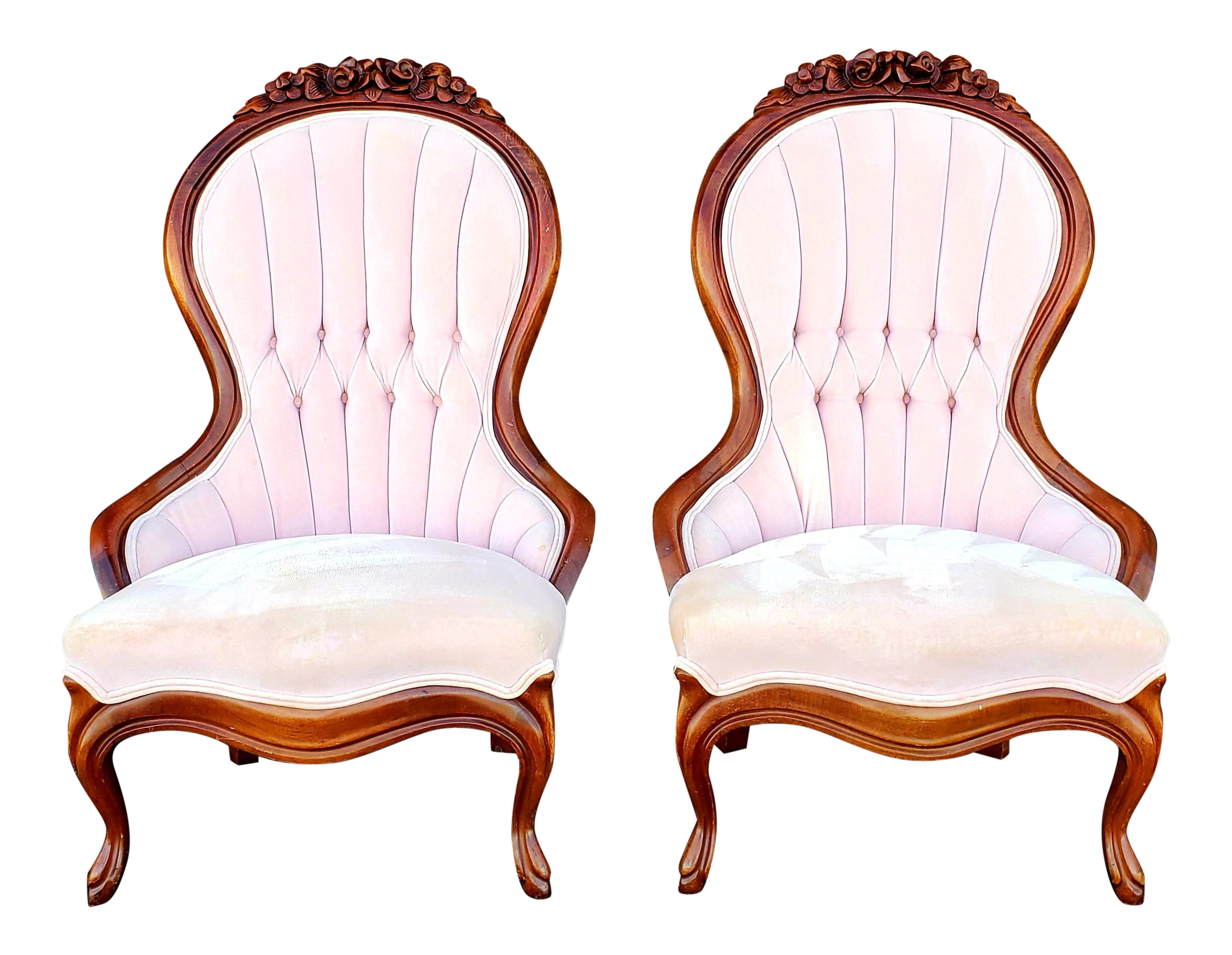Victorian Blush Pink Velvet Slipper Chairs