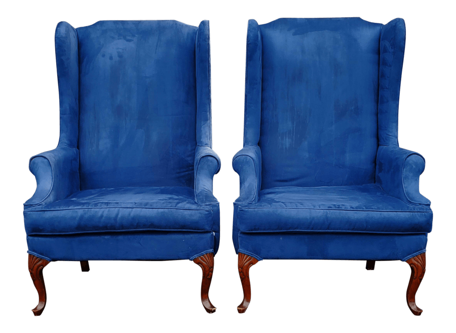 Classic Blue Wingback Chairs