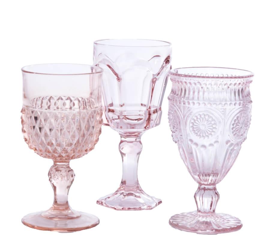 Blush Pink Vintage Goblets
