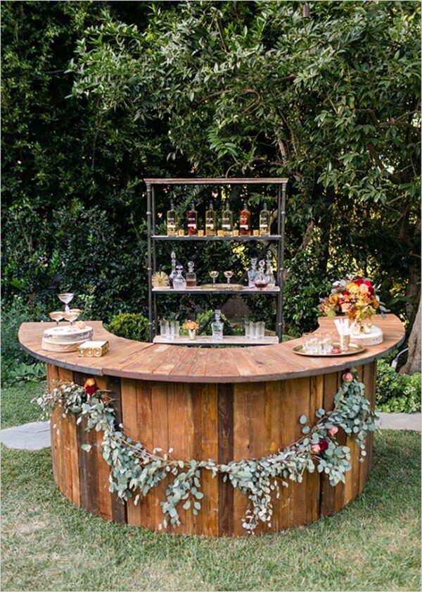 Round Natural Wood Bar