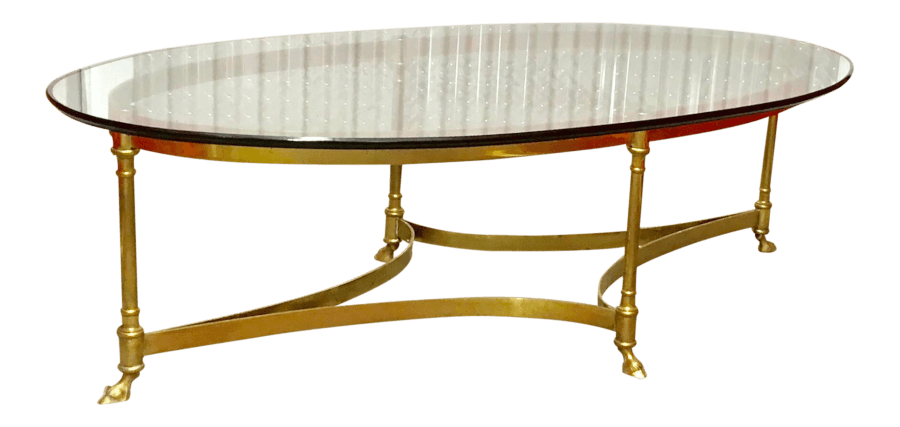 Vintage Gold Glass Coffee Table