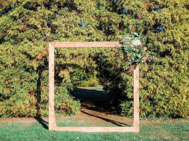 Natural Wood Frame Arbor