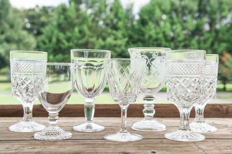 Mismatched Clear Vintage Goblets