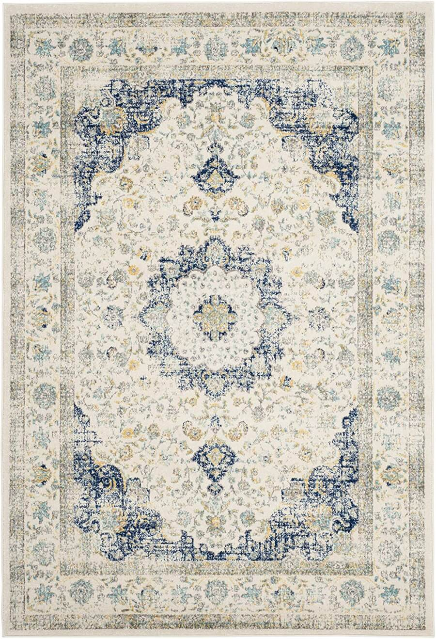 Ivory and Blue Oriental Rug