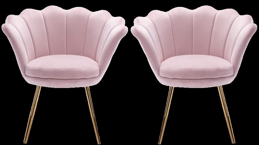 Blush Pink Scallop Velvet Chairs