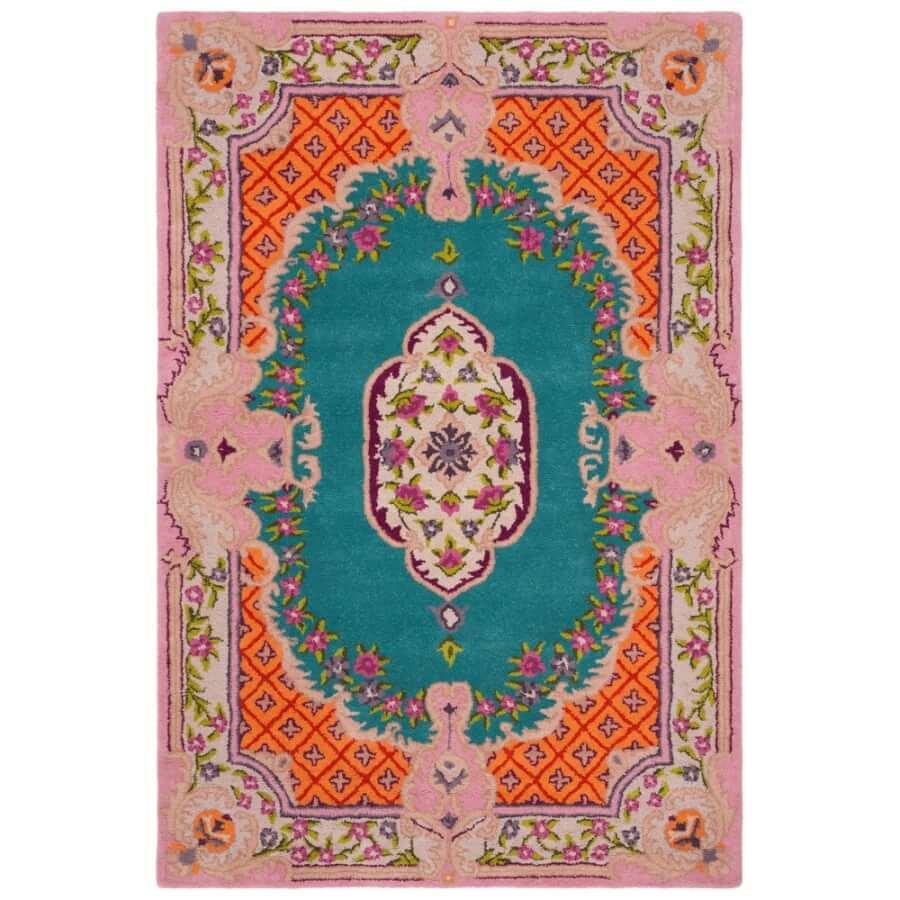 Boho Pink and Blue Oriental Rug