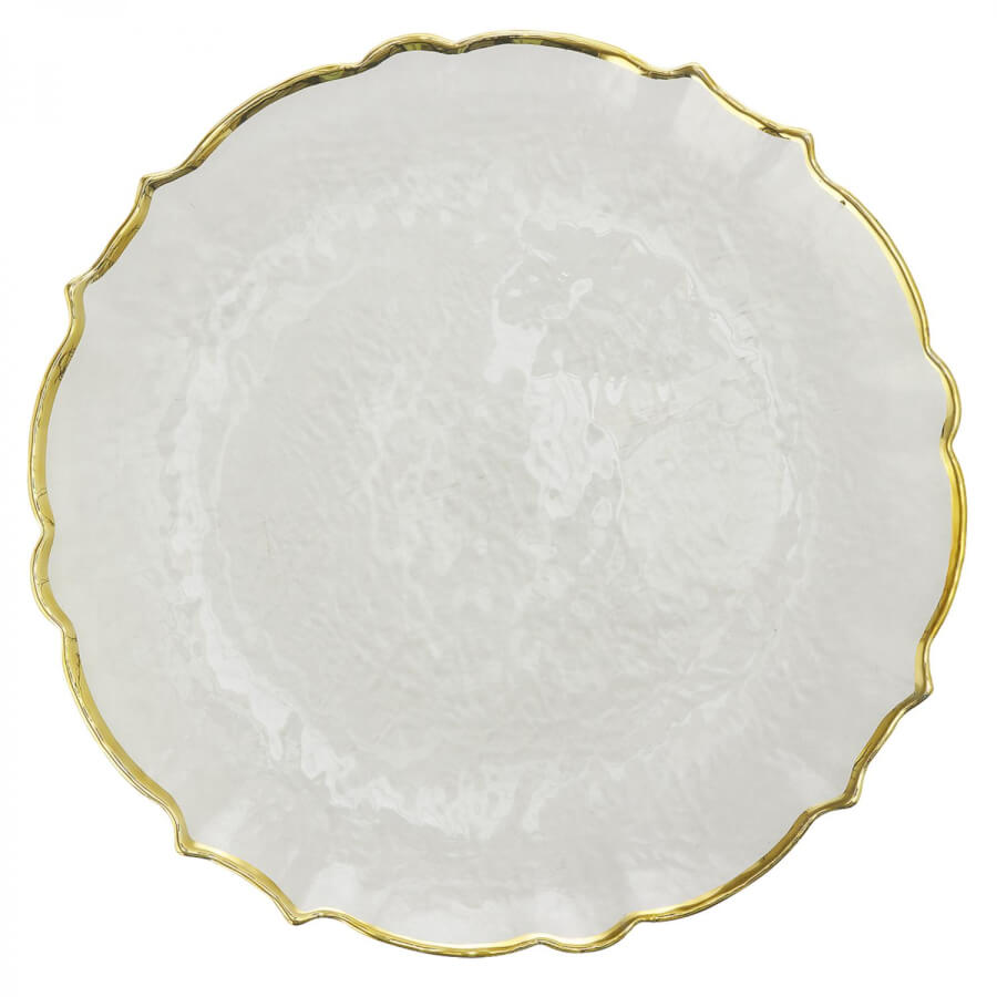 Clear Glass & Gold Scalloped Charger