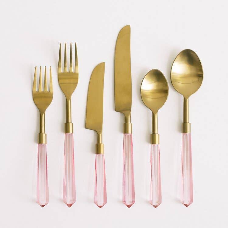 Prism Lucite Blush & Gold Flatware