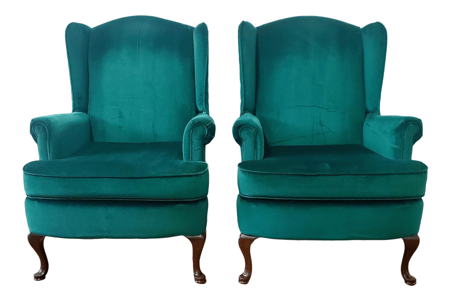 French Green Velvet Wingback Chairs