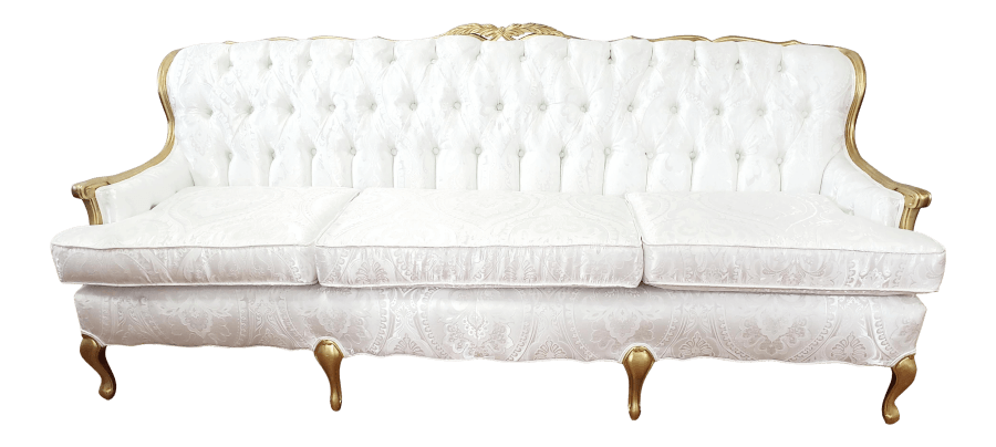 Victorian Gold and White Tufted Sofa