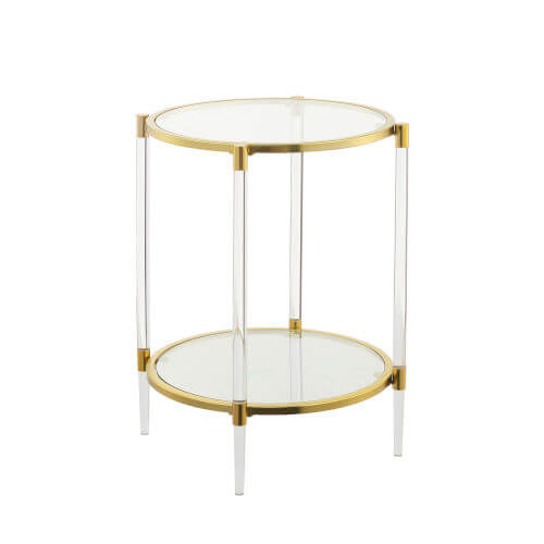Mod Lucite & Gold End Tables