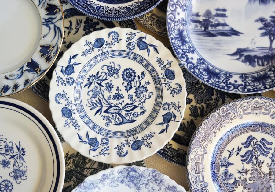 Vintage Blue Dessert Plates