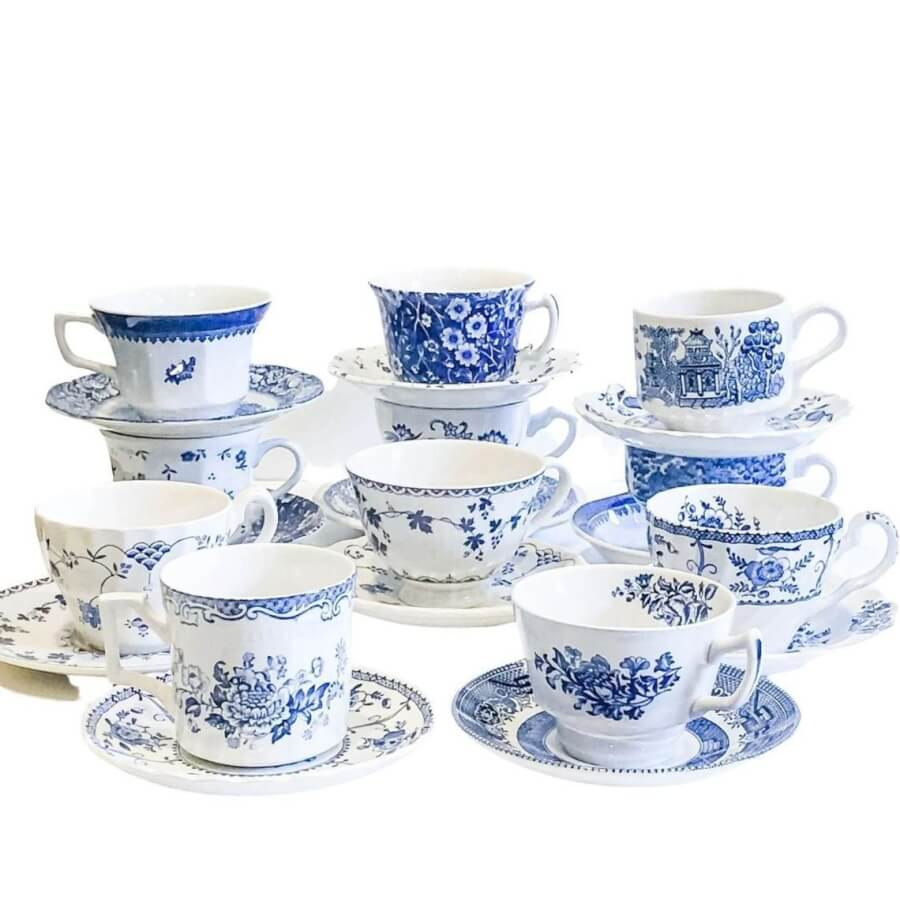 Vintage Blue Teacups & Saucers