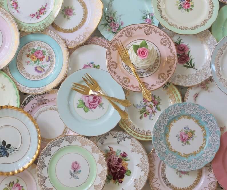 Vintage Mismatched Dessert Plates