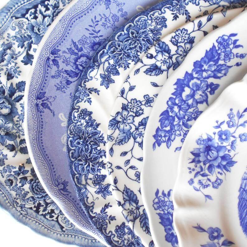 Vintage Blue & White Dinner Plates