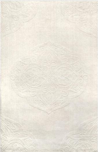 White Oriental Damask Rug
