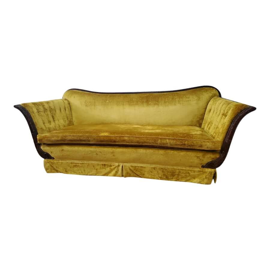 Antique Gold/Yellow Velvet Sofa