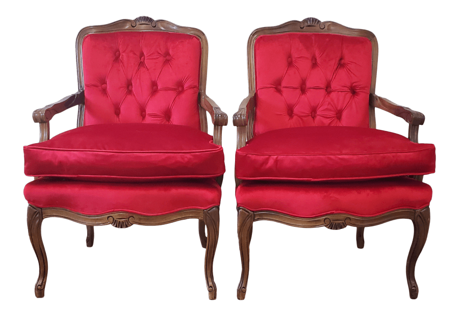 Antique French Red Velvet Armchairs