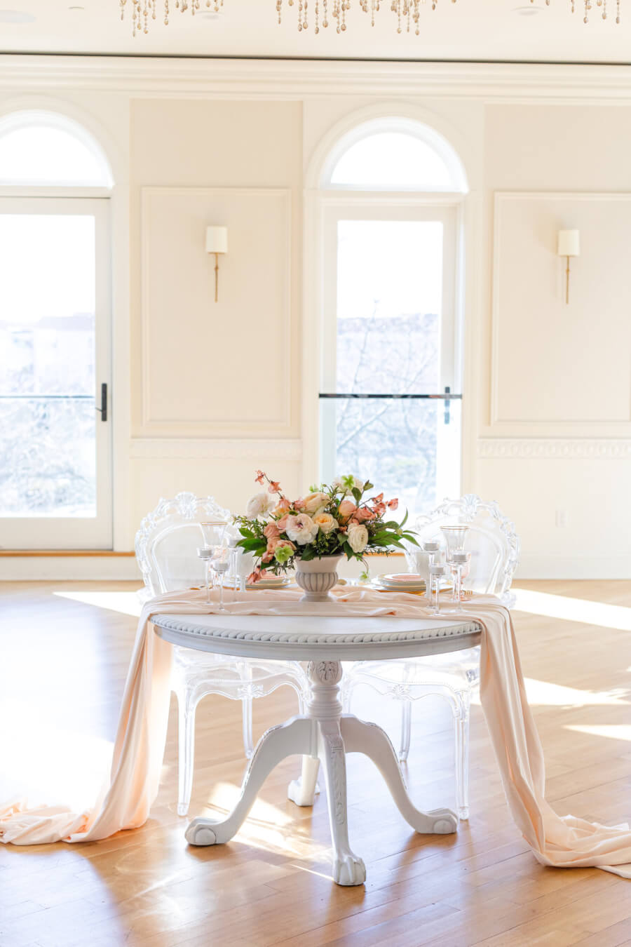 French Round White Sweetheart Table