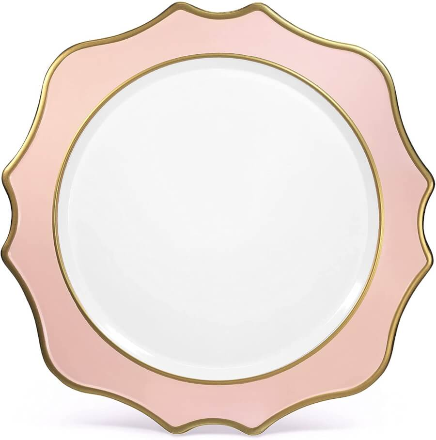 Blush Pink & Gold Scallop Charger