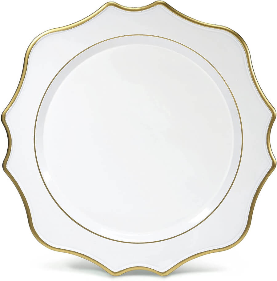 White & Gold Scallop Charger