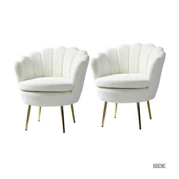 Scallop White Velvet Chairs