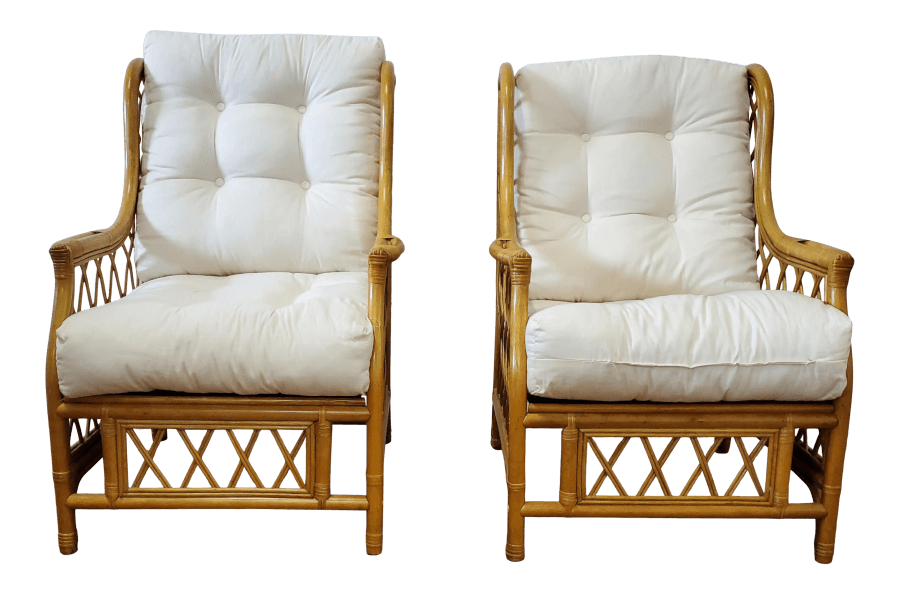 Bamboo & Ivory Wingback Chairs