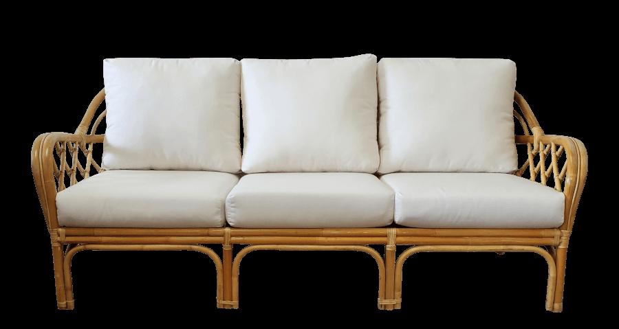 Vintage Bamboo & Ivory Sofa