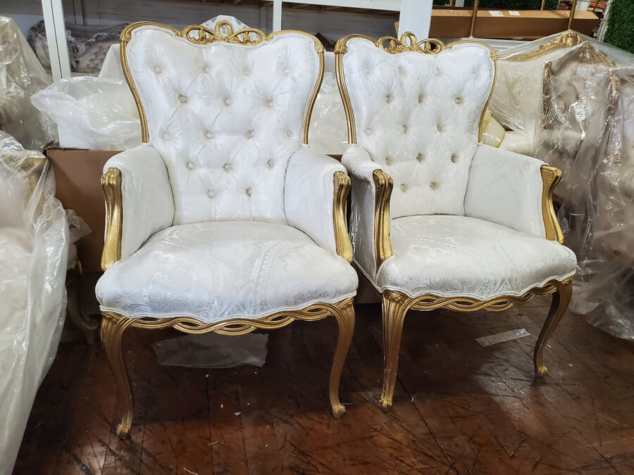 Victorian Gold & White Tufted Armchairs