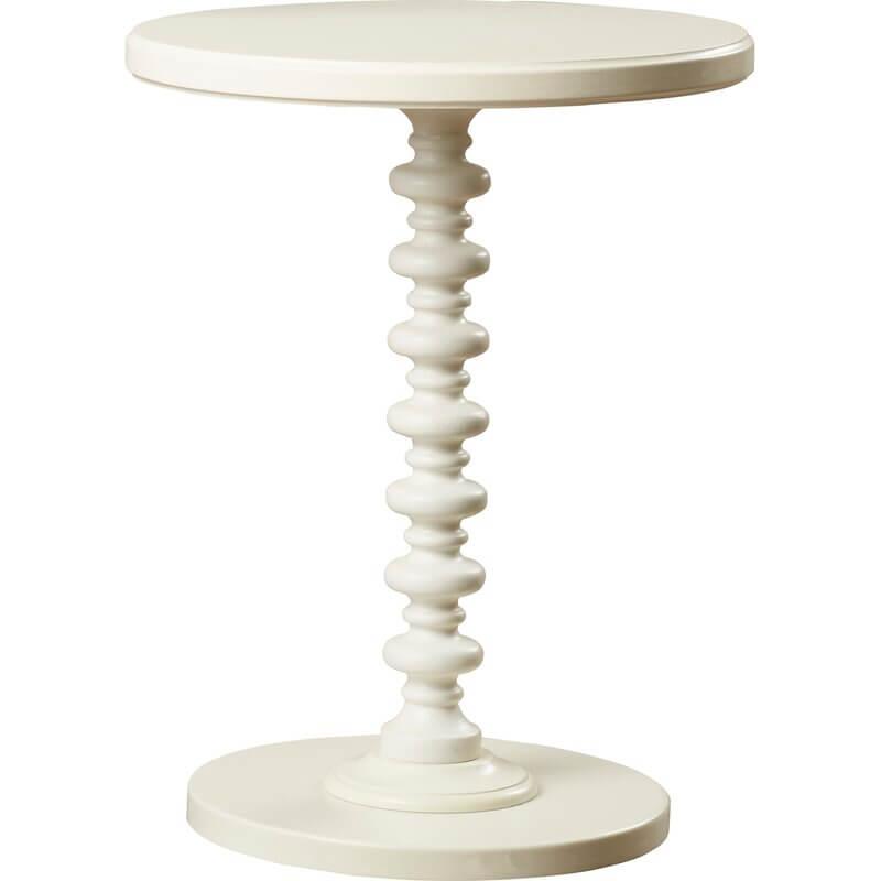 White Pedestal End Table